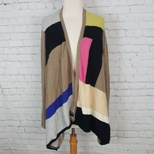 Sparrow Colorblock Cardigan Sweater M Shawl Wrap